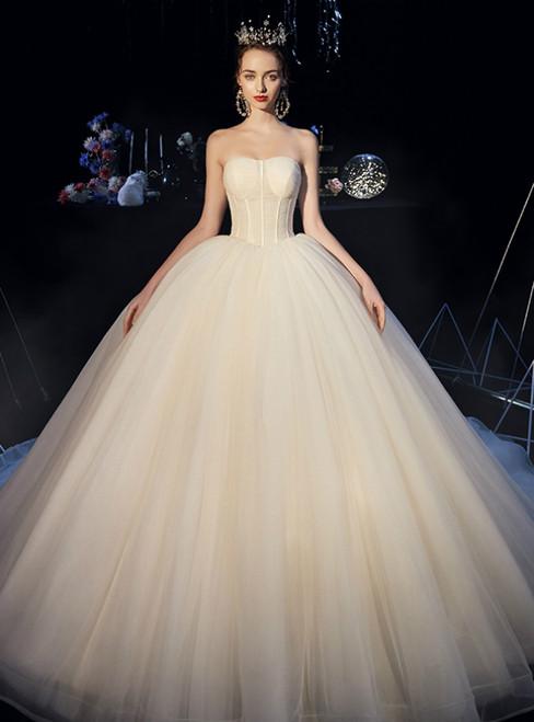 Champagne Ball Gown Strapless Corset Long Wedding Dress