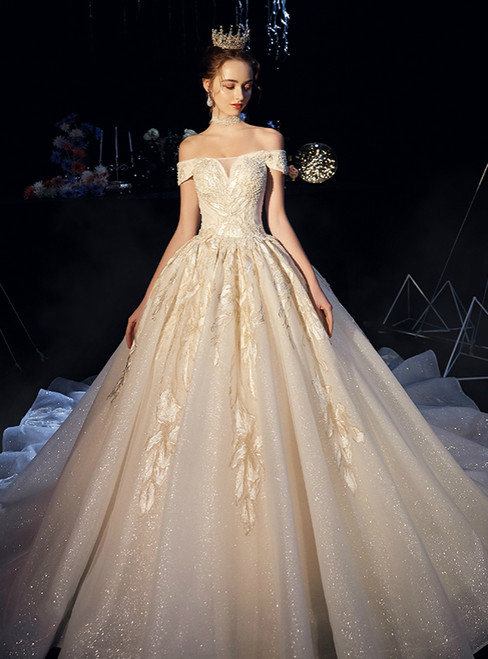 Champagne Ball Gown Tulle Embroidery Appliques Off the Shoulder Wedding Dress