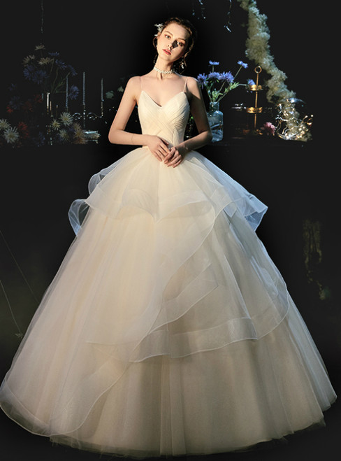 Champagne Ball Gown Tulle Spaghetti Straps Pleats Wedding Dress