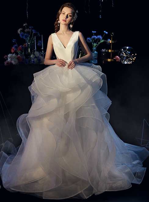 White Tulle Satin V-neck Backless Beading Wedding Dress With Train