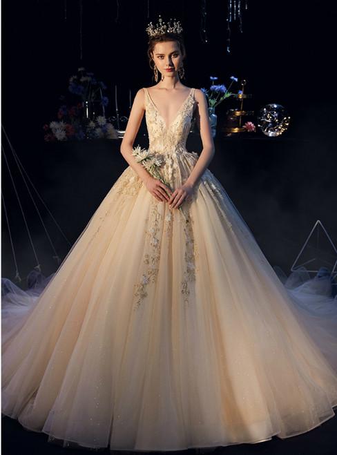 Champagne Tulle Flower Beading V-neck Backless Wedding Dress