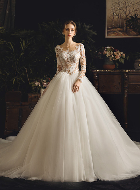 White Ball Gown Bateau Tulle Lace Appliques Long Sleeve Backless Wedding Dress