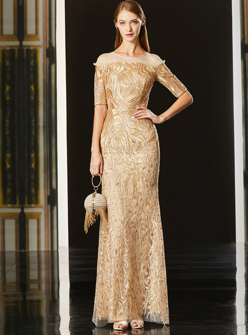 Champagne Gold Tulle Lace Mermaid Short Sleeve Mother Of The Bride Dress