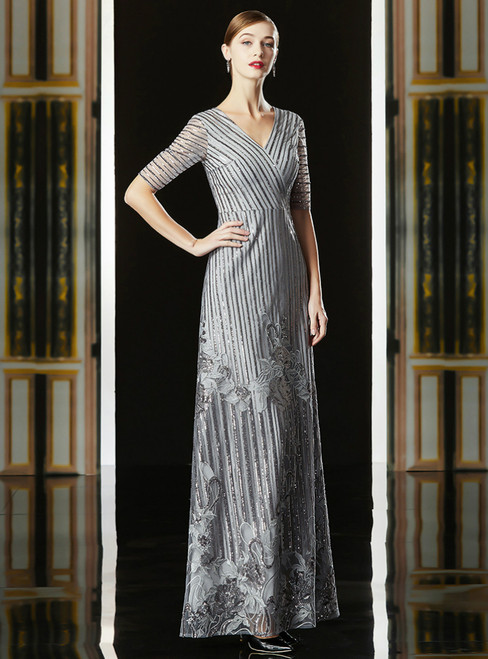A-Line Gray Sequins V-neck Long Sleeve Appliques Mother Of The Bride Dress