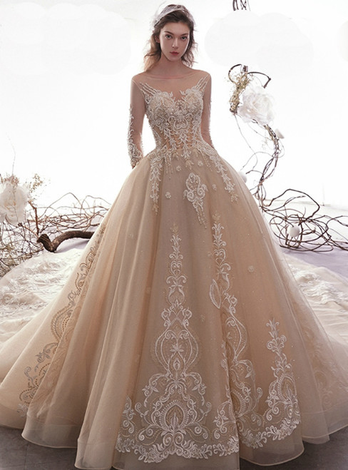 Champagne Ball Gown Bateau Appliques Long Sleeve Wedding Dress With Beading
