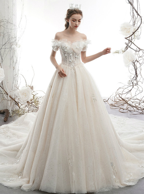 Adorable Light Champagne Tulle Off the Shoulder Appliques Wedding Dress