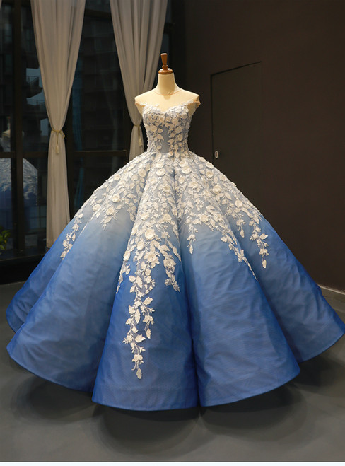 Blue White Ball Gown 3D Flower Cap Sleeve Haute Couture Prom Dress