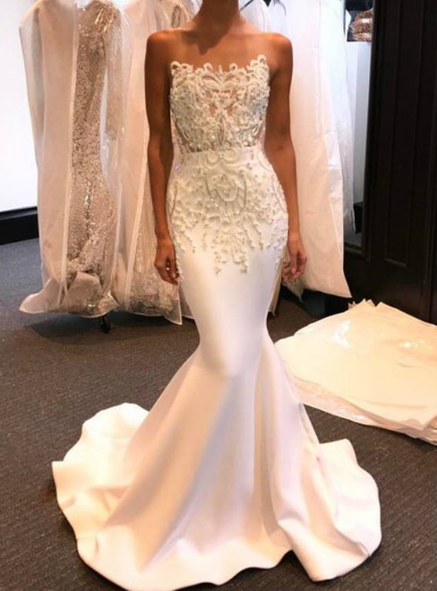 White Mermaid Satin Strapless Appliques Weddign Dress
