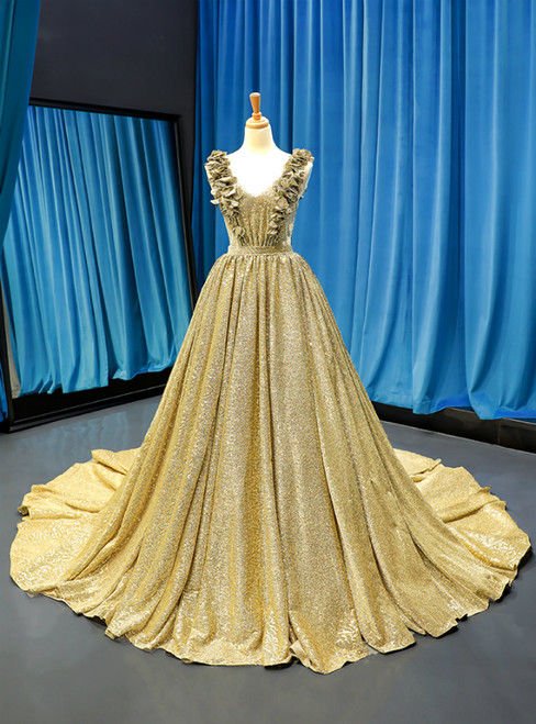 Ball Gown Gold Sequins V-neck Appliques Prom Dress With Train