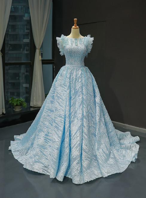 Sky Blue Lace Backless Bateau Haute Couture Quinceanera Prom Dress