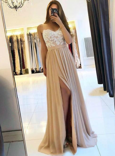 Champagne Spaghetti Straps Chiffon Appliques Prom Dress With Side Split
