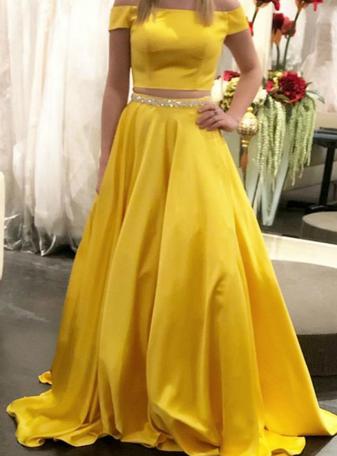 Yellow Two Piece Satin Off the Shoulder Prom Dress With Crystal