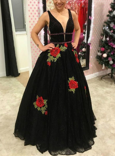 A-Line Deep V-neck Black Tulle V-neck Rose Flower Prom Dress