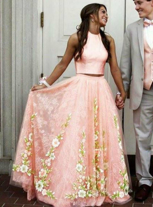 A-Line Orange Tulle Lace Appliques Two Piece Prom Dress
