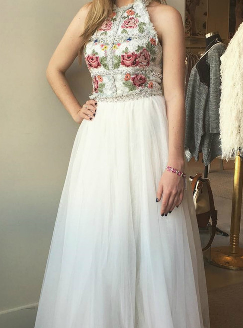 A-Line White Embroidery Flower Two Piece Prom Dress With Pearls
