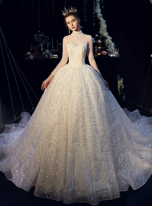 Champagne Tulle Sequins High Neck Long Sleeve With Beading Wedding Dress