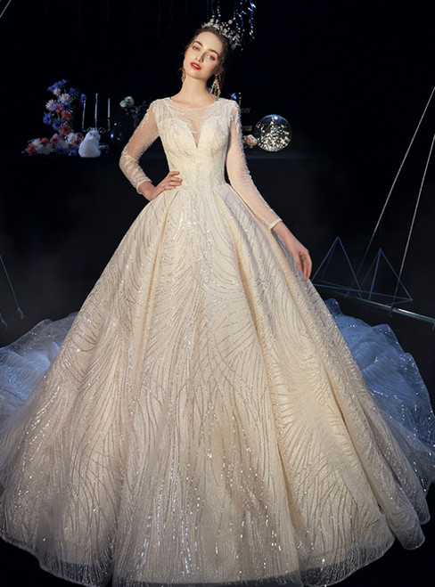 Champagne Sequins Tulle Long Sleeve Wedding Dress With Beading