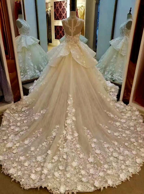 Cheap Wedding dresses Lace Appliqued And Flowers Wedding Dress