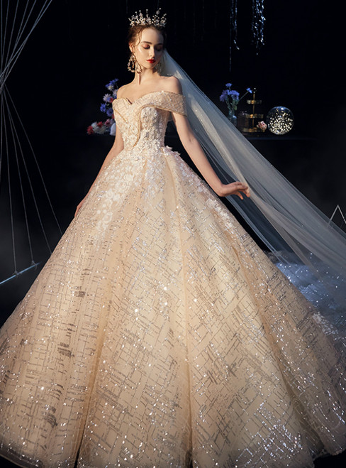 Champagne Sequins Tulle Off the Shoulder Appliques Wedding Dress
