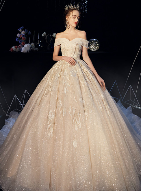 Champagne Tulle Sequins Off the Shoulder Appliques Wedding Dress