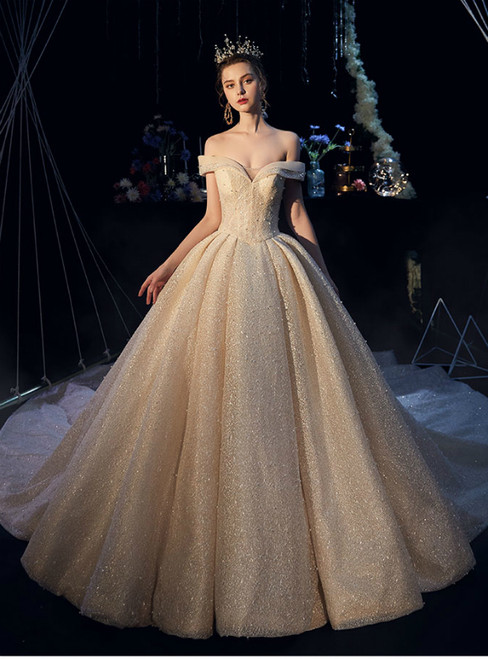 eba4fdd74b72d4 Champagne Tulle Lace Off the Shoulder Corset Wedding Dress With Pearls