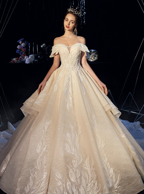 Champagne Ball Gown Tulle Lace Appliques Off the Shoulder Beading Wedding Dress With Long Train