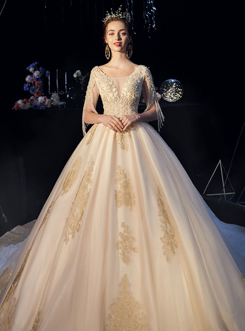 Champagne Tulle Lace Appliques Short Sleeve Beading Wedding Dress