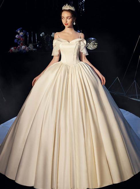 Simple Ball Gown Beige White Satin Spaghetti Straps Wedding Dress