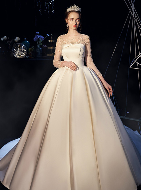 Beige White Satin Long Sleeve Flower Backless Wedding Dress