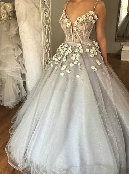 Ball Gown Spaghetti Straps Court Train Grey Tulle Wedding Dress