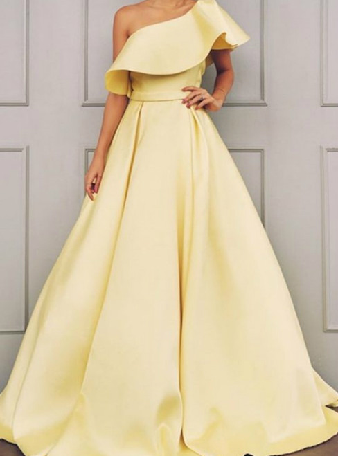 A-Line Yellow Satin One Shoulder Formal Prom Dress