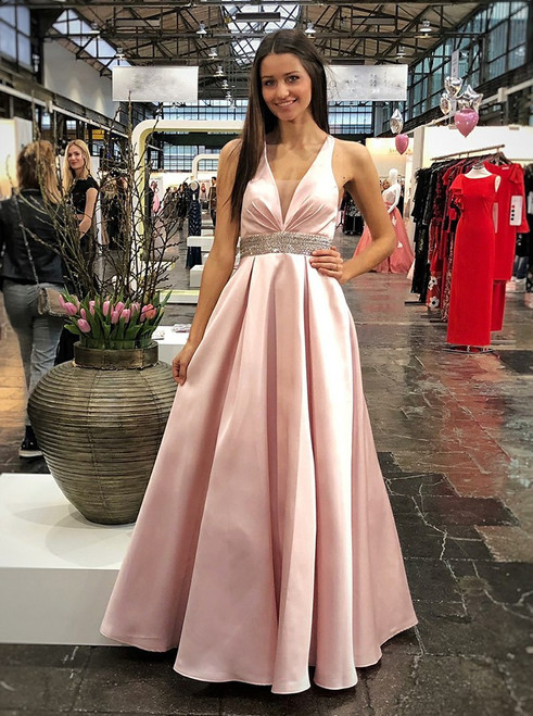 Pink Deep V-neck Sleeveless Open Back Beaded Prom Dress