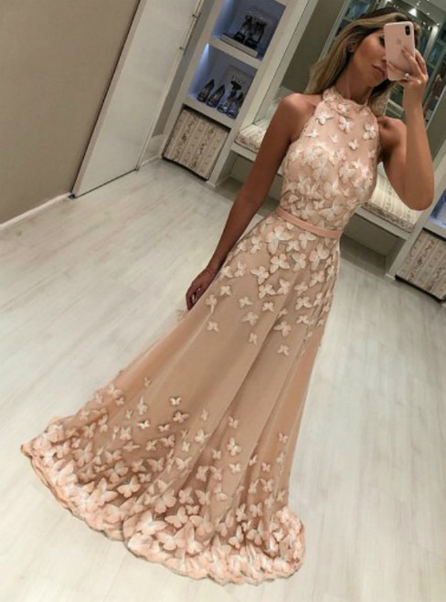 Champagne High Neck Sleeveless Sweep Train Prom Dresses with Butterfly Appliques