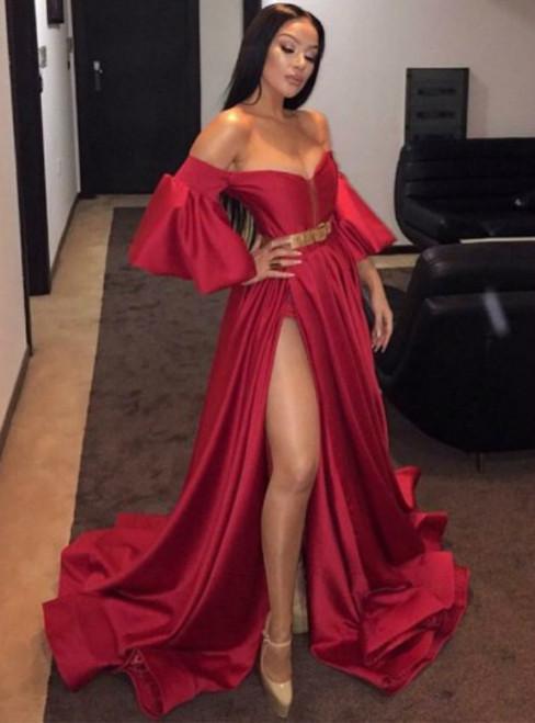 Red Off Shoulder Short Sleeves Split-Front Prom Evening Dress with Belt