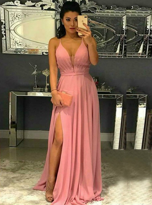 A-Line Pink Chiffon Spaghetti Straps Prom Dress With Side Split