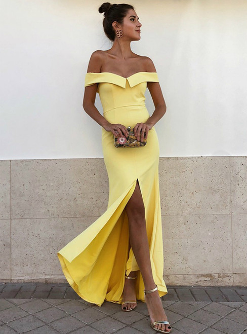 Yellow Mermaid Off-the-Shoulder Satin Long Prom Dress with Split