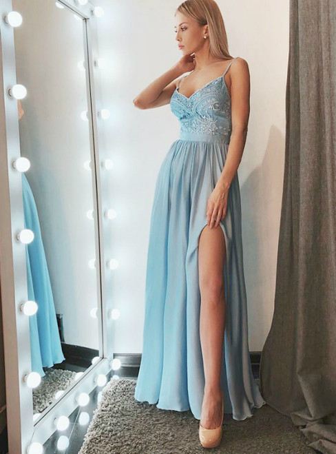 A-Line Blue Spaghetti Straps Chiffon Prom Dress with Appliques
