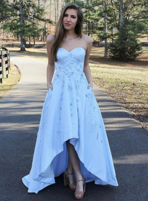 A-Line Sweetheart Light Blue Appliques High Low Satin Prom Dress