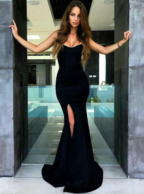 Navy Blue Mermaid Strapless Sweep Train Satin Prom Dress with Side Split