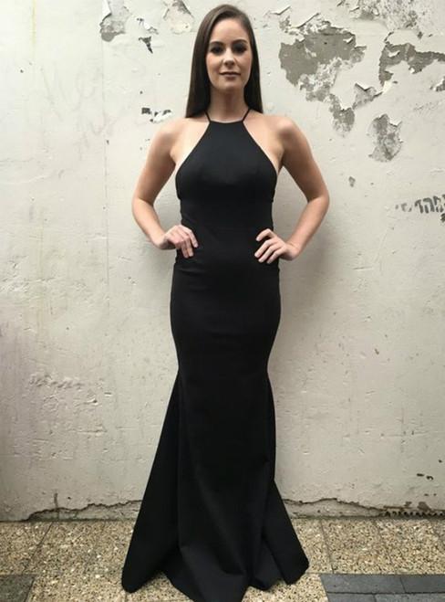 Simple Black Mermaid Spaghetti Straps Floor-Length Backless Prom Dress