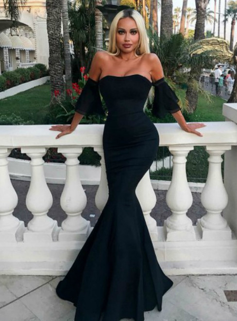 Black Mermaid Strapless Floor Length Satin Evening Prom Dress