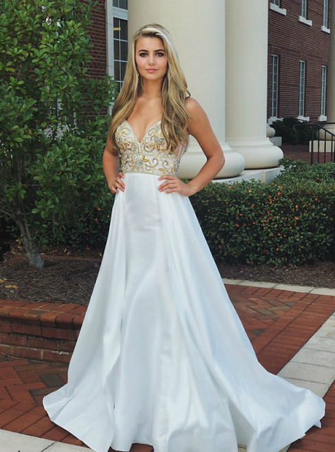 A-Line White Satin V-neck Sleeveless Beaded Top Backless Prom Dress