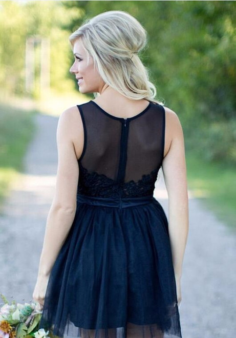Lace Homecoming Dresses Navy Blue Short Bridesmaid Dresses A Line Sheer Scoop Neck Lace