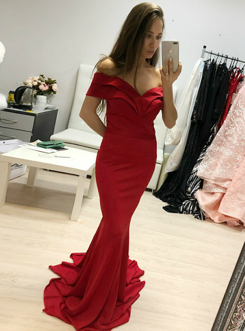Red Satin Mermaid Off-the-Shoulder Sweep Train Prom Dress