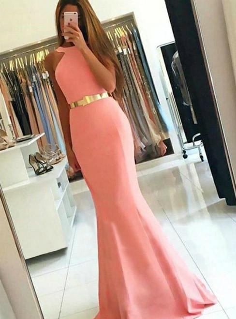 Simple Pink Mermaid Jewel Sweep Train Satin Prom Dress
