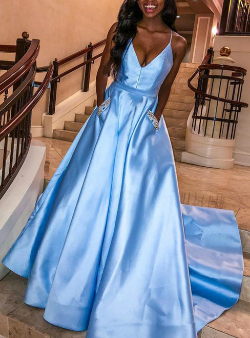 A-Line Sky Blue Satin Spaghetti Straps Prom Dress With Pocket