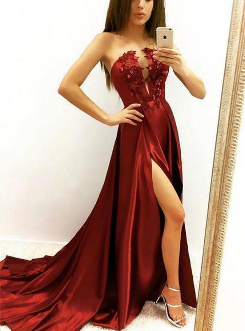 Sexy Burgundy Satin Strapless Appliques Prom Dress With Side Split