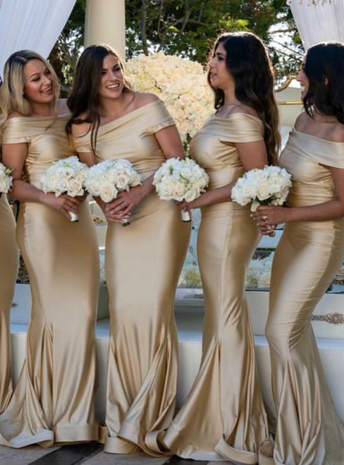 Mermaid Off-the-Shoulder Sweep Train Gold Bridesmaid Dress