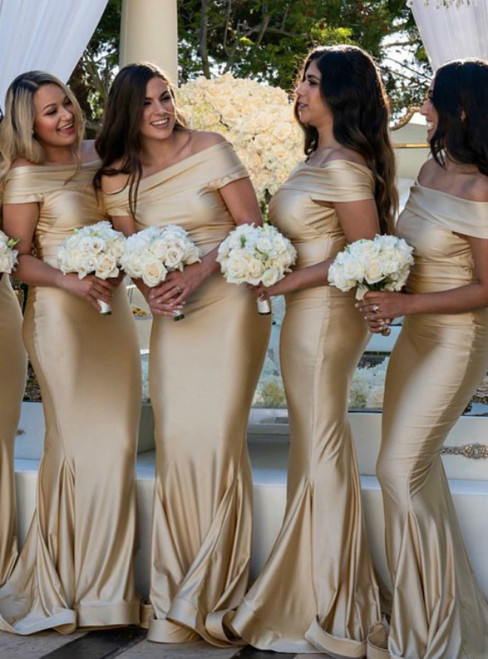 Mermaid Off-the-Shoulder Sweep Train Gold Bridesmaid Dress