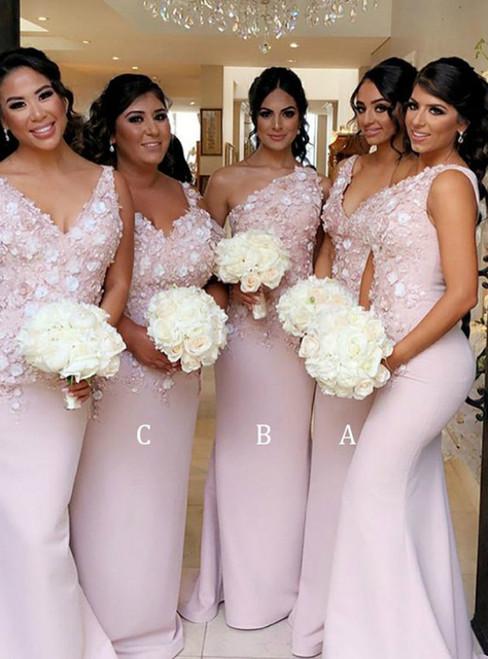 Fashion Pink Mermaid Satin Appliques Bridesmaid Dress